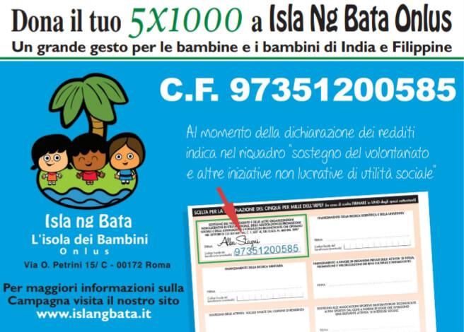Come donare il 5 per mille a Isla ng Bata - L'isola dei Bambini